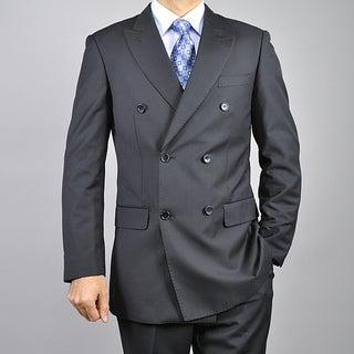Men's Black Double-breasted 6-button Suit