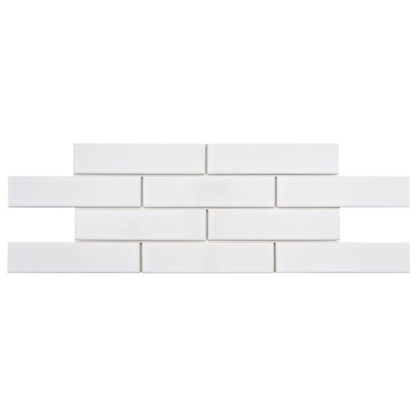SomerTile Victorian Soho Subway White Porcelain Tiles (Case of 100)