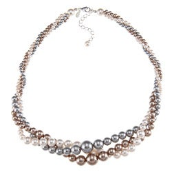 Roman Silvertone White, Grey and Champagne Faux Pearl Twist Necklace