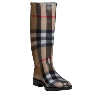 Burberry 3201798 Women's Beige House-check Mid-calf Rubber Rain Boots