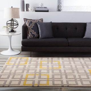 Hand-tufted Contemporary Geometric Beige Colobus New Zealand Wool Abstract Rug (9' x 13')