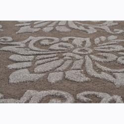Hand-tufted Mandara Floral Brown Wool Rug (7'9 x 10'6)