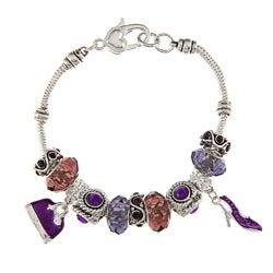 La Preciosa Silvertone Purple Crystal Bead Charm Bracelet