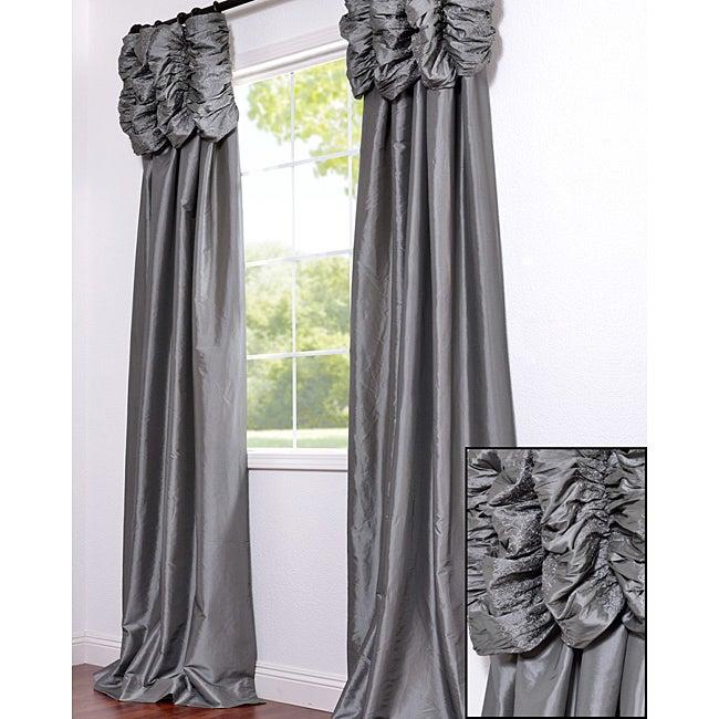 Ruched Header Platinum Faux Silk Taffeta 108-inch Curtain Panel