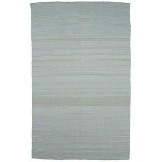 Flat Weave Solid Blue Wool Rug (4' x 6')