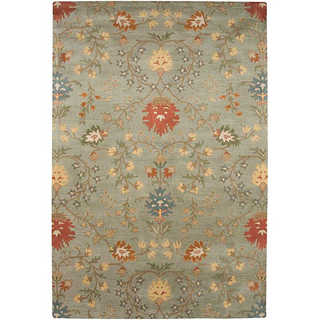 Hand-tufted Ivory, Red and Green Wool Rug (3'6 x 5'6)