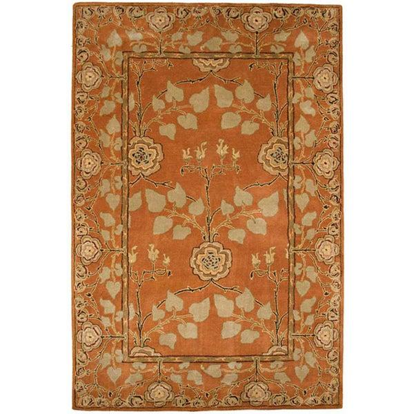Hand-tufted Orange/ Beige Wool Rug (8' x 11')