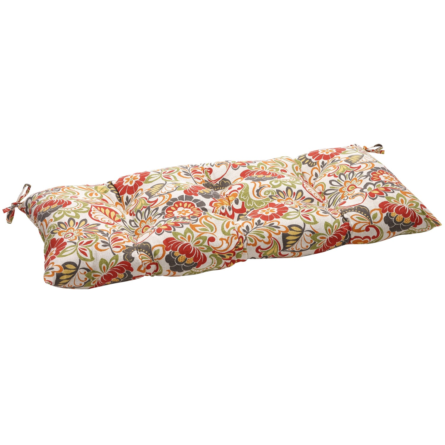 Multicolored Floral Outdoor Tufted Loveseat Cushion