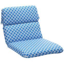 Pillow Perfect Blue/ White Geometric Outdoor Cushion