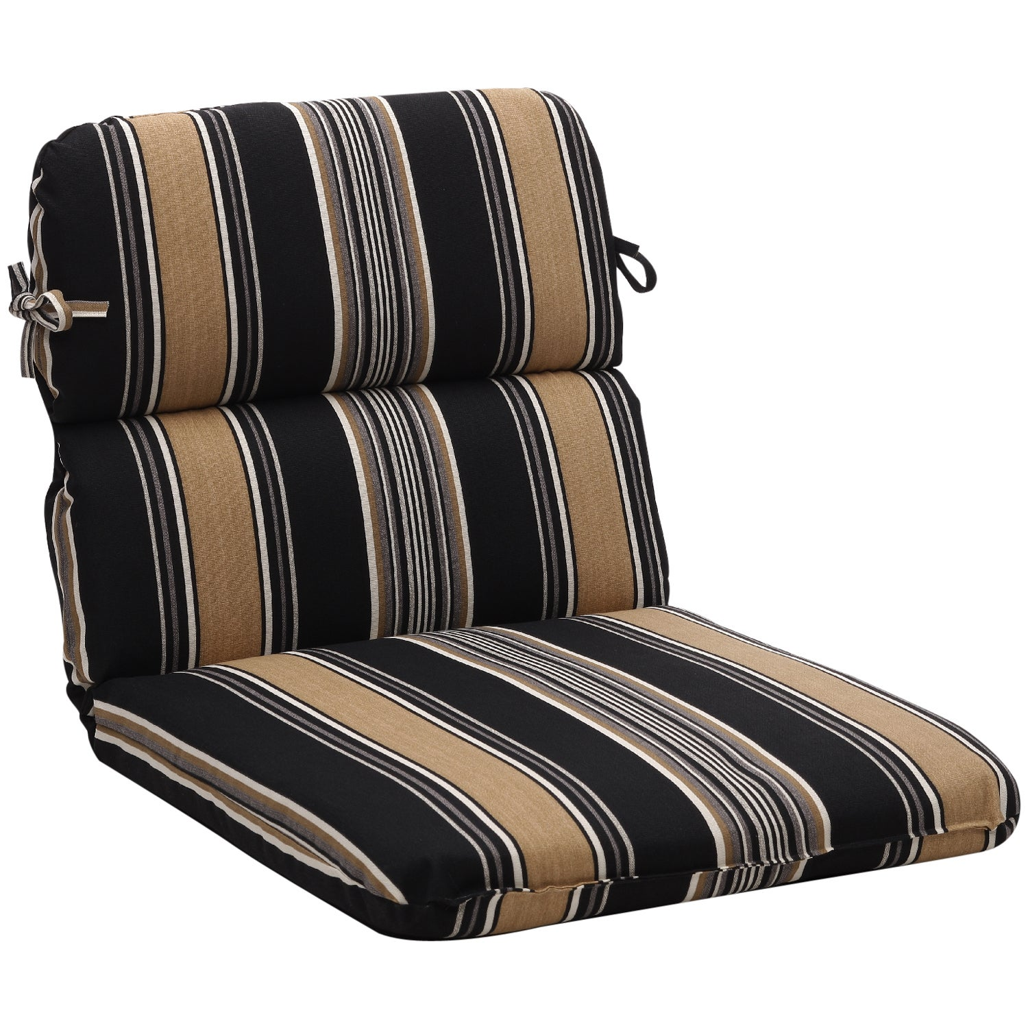 Rounded Black Tan Stripe Outdoor Chair Cushion