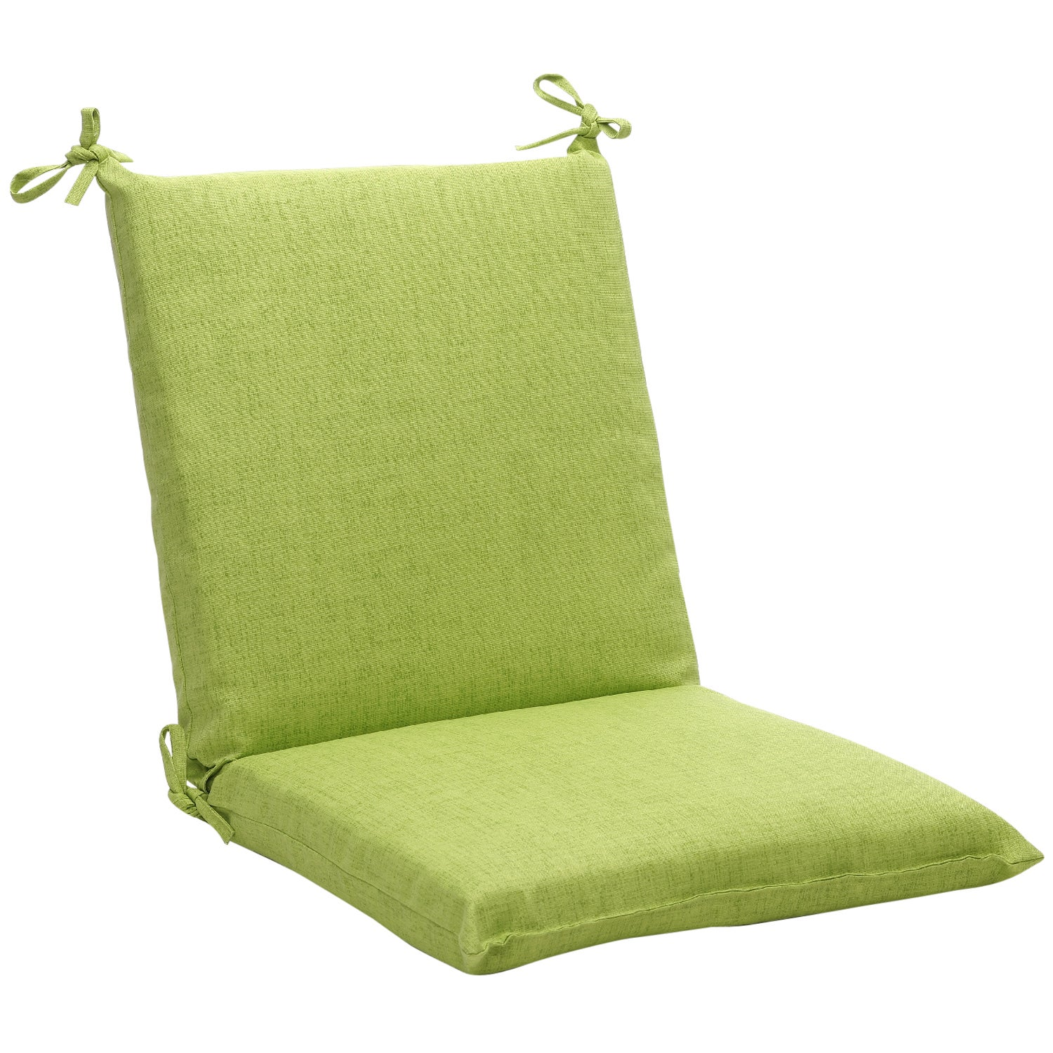Squared solid green textured outdoor chair cushion for Garden furniture cushions