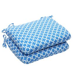 Outdoor Blue and White Geometric Rounded Seat Cushions (Set of 2)