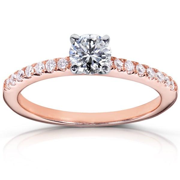 Annello 14k Rose Gold 5/8ct TDW Diamond Engagement Ring (H-I, I1-I2)