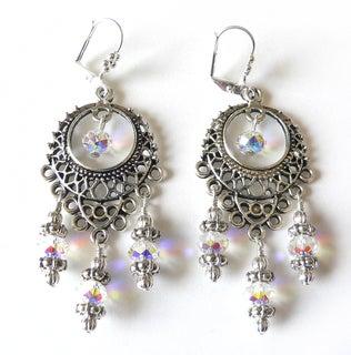 Silvertone Crystal 'Annabella' Chandelier Earrings