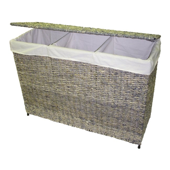 America Basket Company Woven Maize 3-Section Lined Hamper