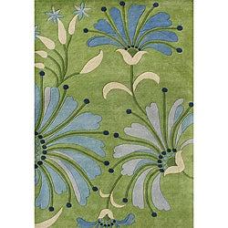 Alliyah Handmade Light Green, Light Blue, Turquoise, Sea Blue, and Beige New Zealand Blend Wool Rug (5' x 8')