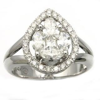 Beverly Hills Charm 14K White Gold 1ct TDW Pear Shape Diamond Ring  (Size 7)