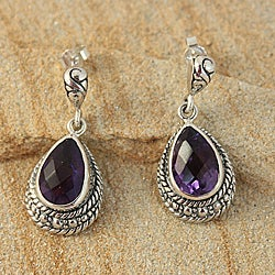 Handcrafted Sterling Silver Amethyst Rope Edge Bali Earrings (Indonesia)