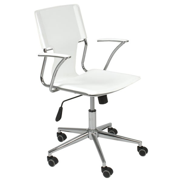 Terry White Leatherette Chrome Office Chair