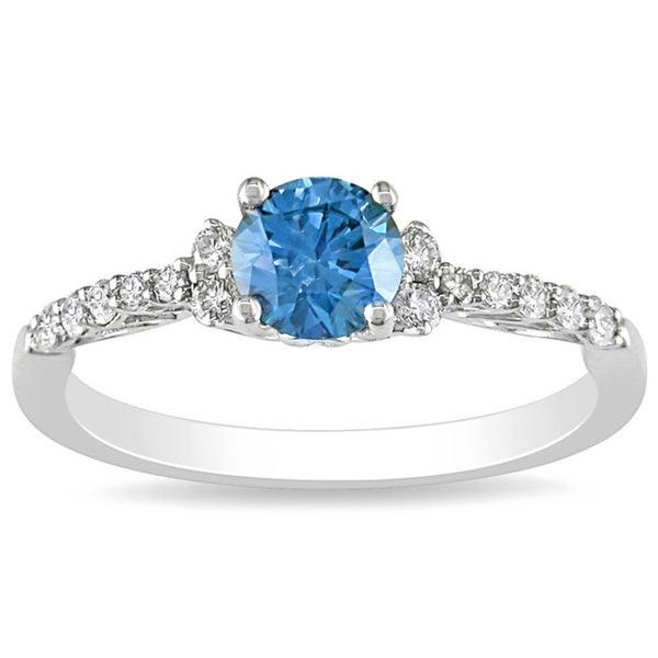 Miadora 14k Gold 3/4ct TDW Blue and White Diamond Ring (G-H, I1-I2)