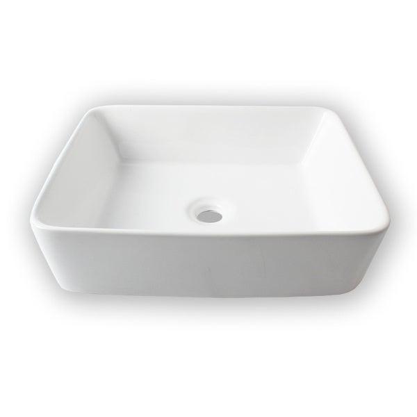 Flotera Rectangular White Vessel Ceramic Bathroom Sink - Overstock ...