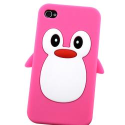 Pink Penguin Silicone Skin Case for Apple iPhone 4/ 4S