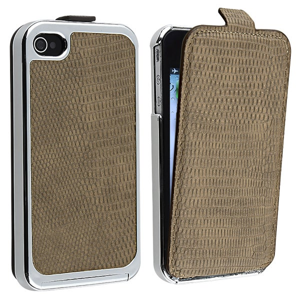 Brown Snap-on Case with Removable Leather Cover for Apple iPhone 4/ 4S