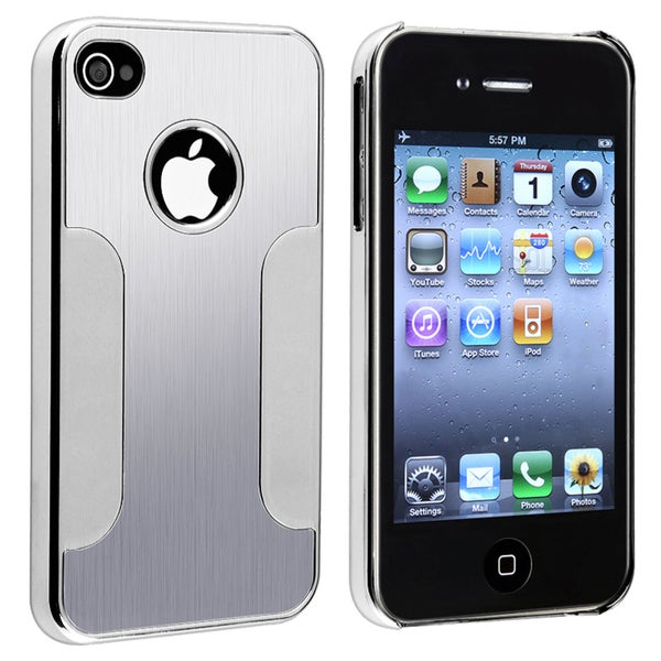 Aluminum Chrome Silver Snap-on Case for Apple iPhone 4/ 4S