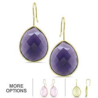 M by Miadora 22k Gold Overlay Synthetic Gemstone Earrings