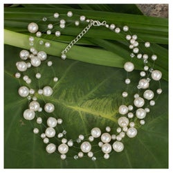 Pearl 'Ivory Fishnet' Necklace (4 mm and 10 mm) (Thailand)