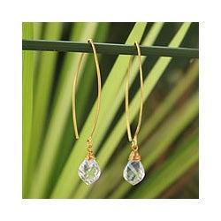 Gold Overlay 'Breath of Love' Quartz Earrings (Thailand)
