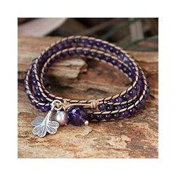 Leather 'Fortune's Wisdom' Amethyst Pearl Bracelet (6.5 mm) (Thailand)