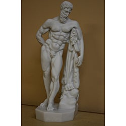 Traditional White-bonded Hercules Farnese Bonded Marble-cast Statue