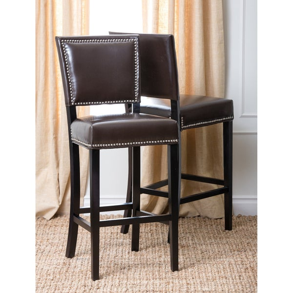 ABBYSON LIVING Napa Brown Bicast Leather Bar Stools (Set of 2)
