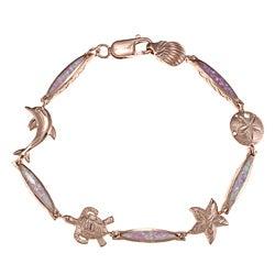 La Preciosa Rose Goldplated Silver Created Pink Opal Sea Life Bracelet