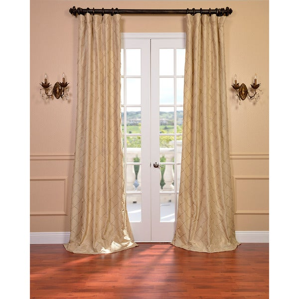 Carneros Brut Hand Sewn Faux Silk Pintuck 84-inch Curtain Panel
