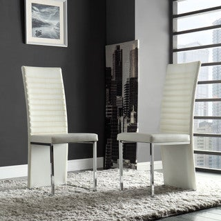TRIBECCA HOME Reynold White Metal Sleek Modern Contoured Dining Chair (Set of 4)