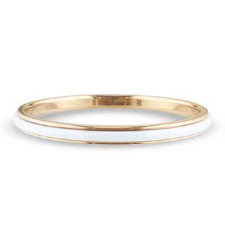 M by Miadora Goldtone Stainless Steel and White Ceramic Bangle Bracelet
