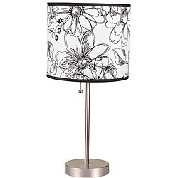 19-inch Black/ White Floral Printed Table Lamp