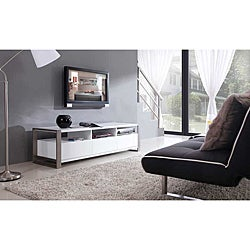 'Adrianna' White High-gloss Stainless Steel TV Stand