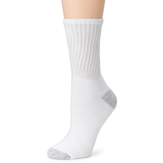 Hanes Women's White Cushion Crew Socks (Pack of 6)