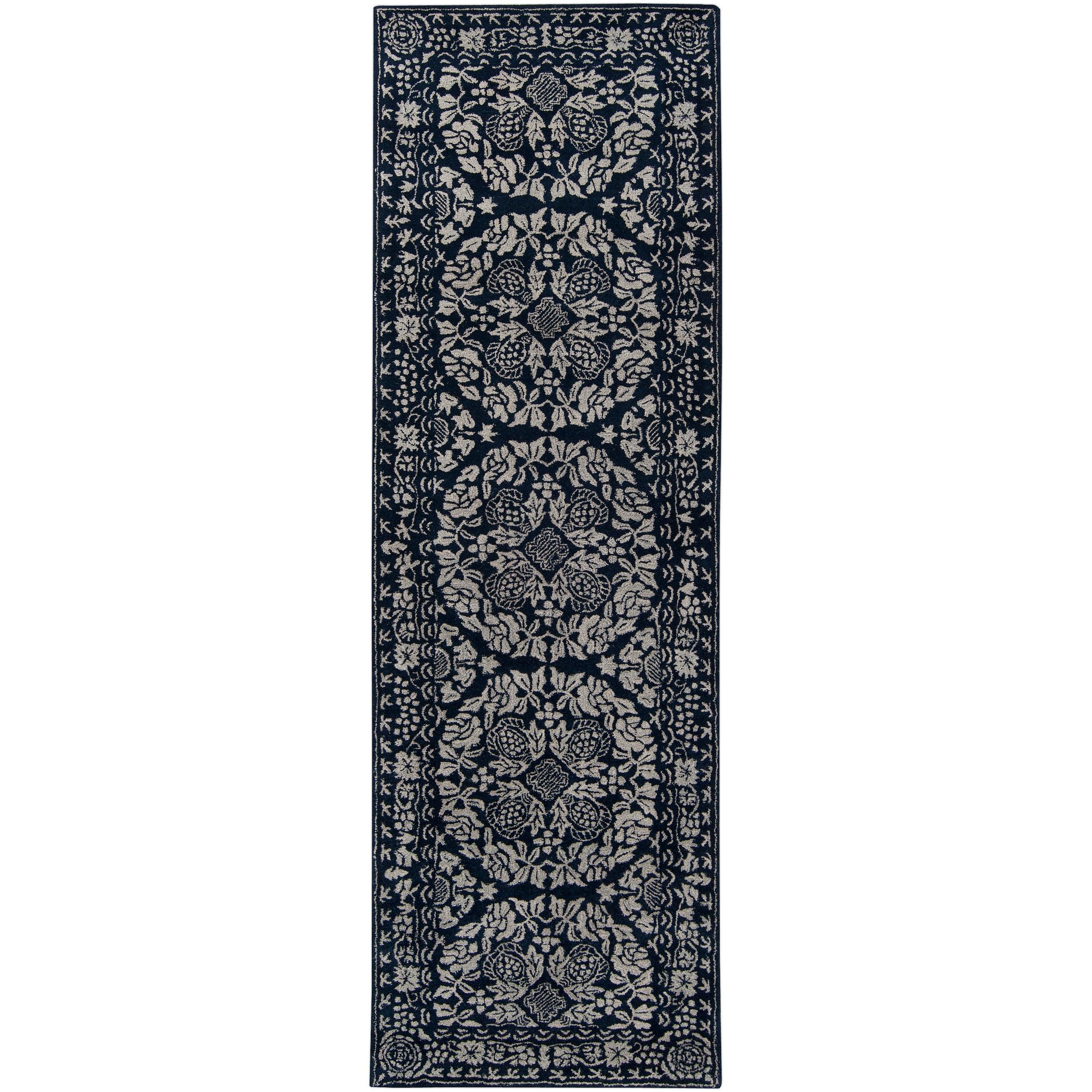 Smithsonian Hand-tufted Blue Ananke Oriental Pattern Wool Rug (2'6 x 8')