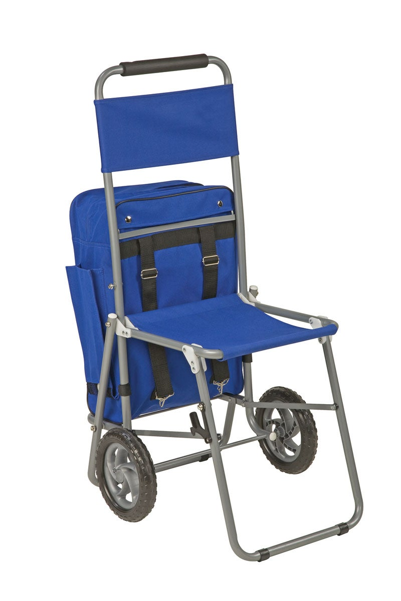 3-in-1 Shopping Cart Backpack Folding Chair with Wheels