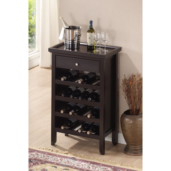 Atlanta Dark Brown Wood Modern Wine Cabinet