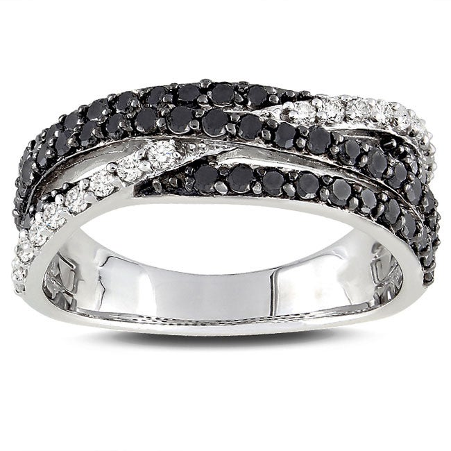 Miadora Sterling Silver 1ct TDW Black-and-white Prong-set Diamond Ring (G-H, I3)