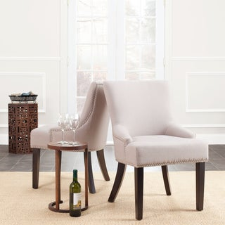 Safavieh Loire Set of Two Beige Linen Nailhead Espresso Dining Chairs