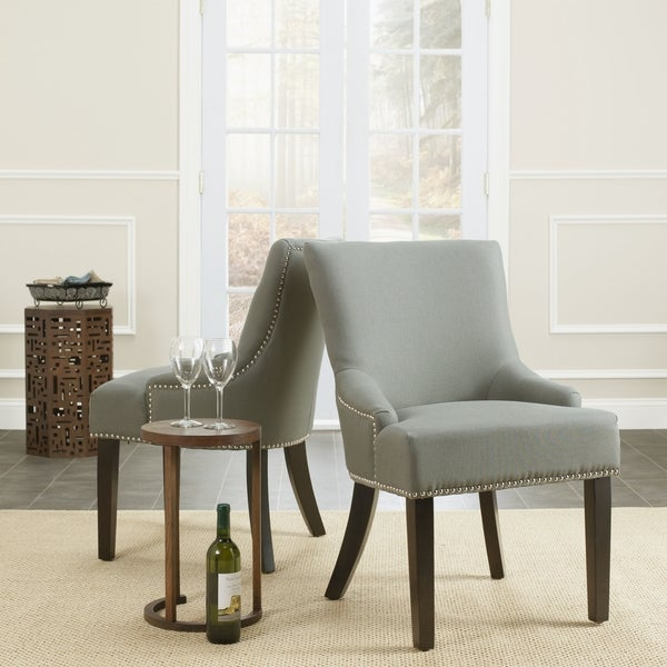 Safavieh Loire Grey Linen Nailhead Dining Chairs (Set of 2)