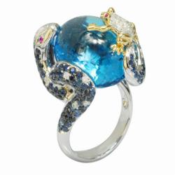 De Buman 18k Gold Blue Topaz, Sapphire and 1/3ct TDW Diamond Ring (G-H,VS1)
