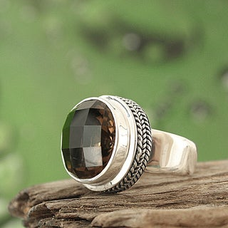 Sterling Silver Smoky Quartz Bali Ring (Indonesia)