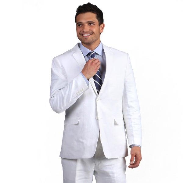 Adolfo Men's White Linen Classic 2-button Suit